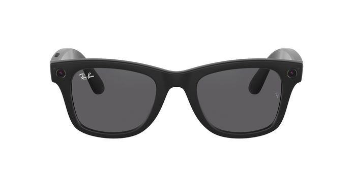 This photo provided by Facebook shows Ray-Ban internet-connected smart glasses.  In a partnership with Ray-Ban, parent EssilorLuxottica, Facebook on Thursday, Sept. 9, 2021, unveiled Ray-Ban Stories — connected eyewear with built-in speakers and microphone for making calls, a companion app that isn't Facebook and a charging case.  (Facebook via AP)