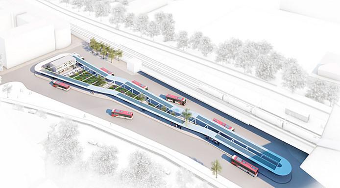 Impressie van het nieuwe busstation Tilburg.