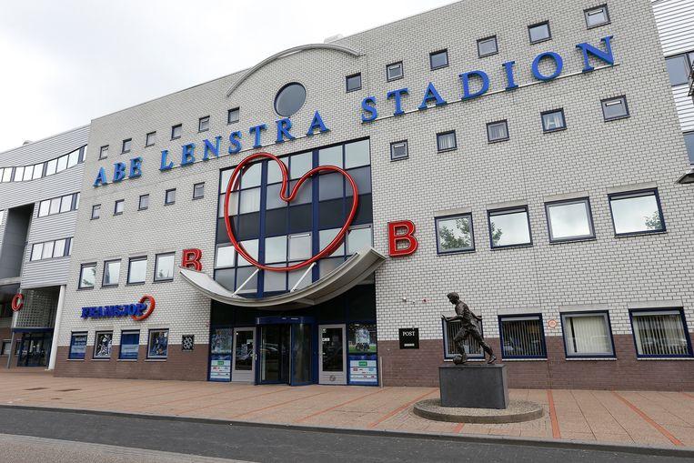 Het blijvende aandenken moet mogelijk voor de ingang van het Abe Lenstra Stadion worden geplaatst.  Beeld ANP