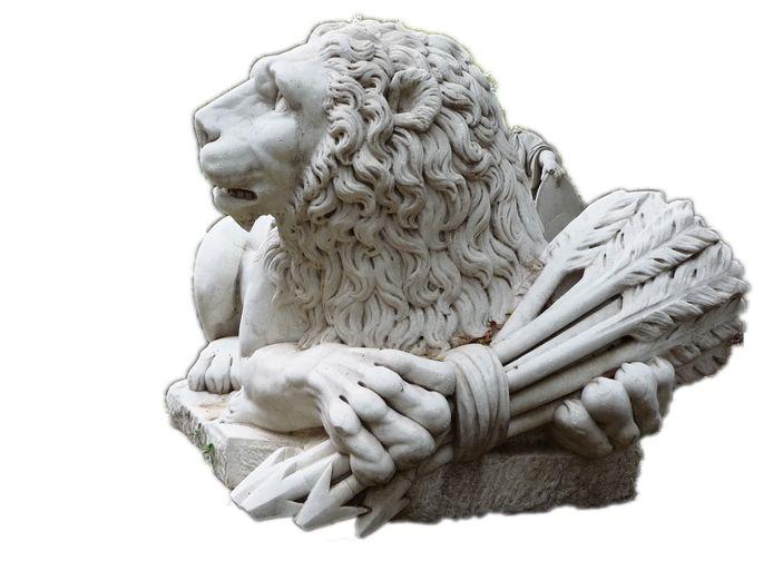 De leeuw  met zijn zeven pijlen verbeeldt de Zeven Provinciën, waar Nederland uit voortkomt.