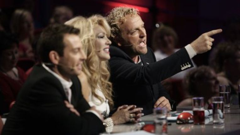 De jury van het RTL-programma Holland's Got Talent 2010 met Dan Karaty, Patricia Paay en Gordon (vlnr). Foto ANP Beeld