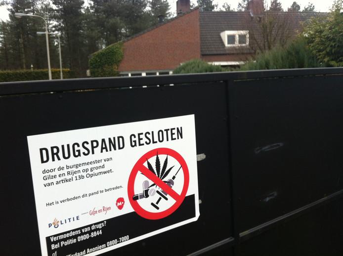 Een op last van de gemeente gesloten 'drugspand' in de gemeente Gilze en Rijen. archieffoto Palko Peeters