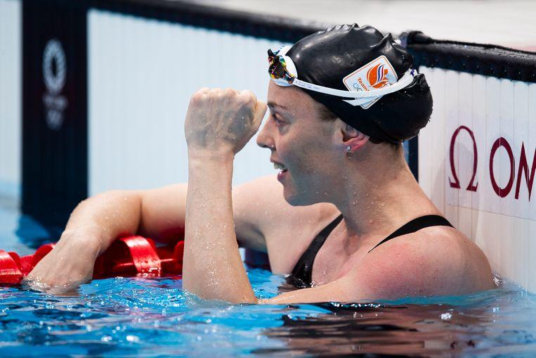 Femke Heemskerk tijdens de 100 meter vrij in Tokio. Trots op zichzelf. Beeld EPA