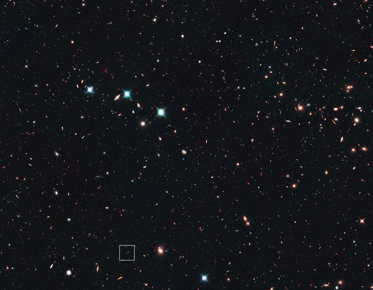 In het blokje is supernova Wilson als een klein stipje te zien. Beeld NASA