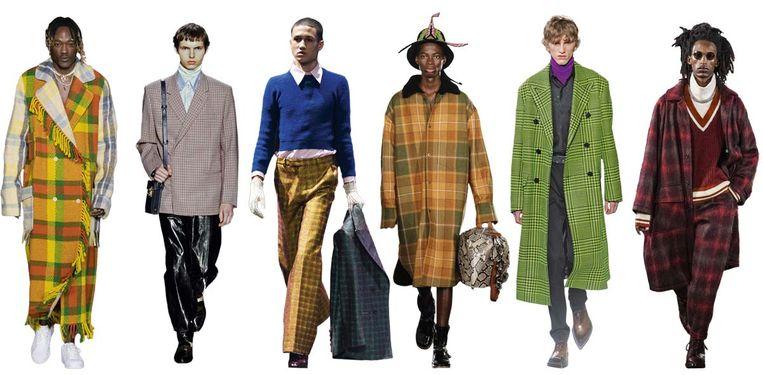 Vanaf links: Bethany Williams, Dunhill, Gucci, Loewe, Berluti, Nicholas Daley Beeld Imaxtree