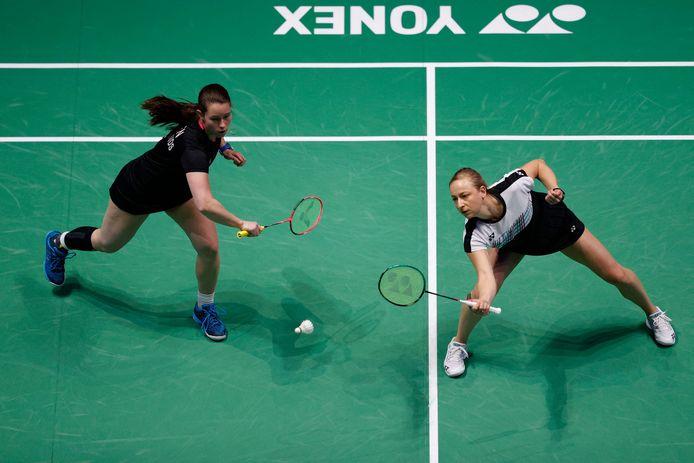 Selena Piek (r) en Cheryl Seinen in de halve finale van de All England Open Badminton Championship in de Utilita Arena in Birmingham eerder dit jaar.