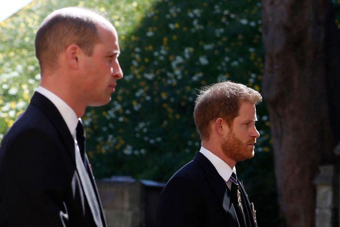 Harry et William durant les funérailles du prince Philip.