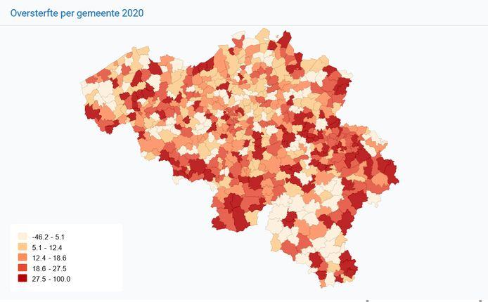 Oversterfte per gemeente in 2020.