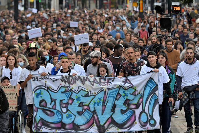 Nantes, 21 juin, 2021: manifestation organisée à l'occasion du deuxième anniversaire de la disparition de Steve Maia Caniço