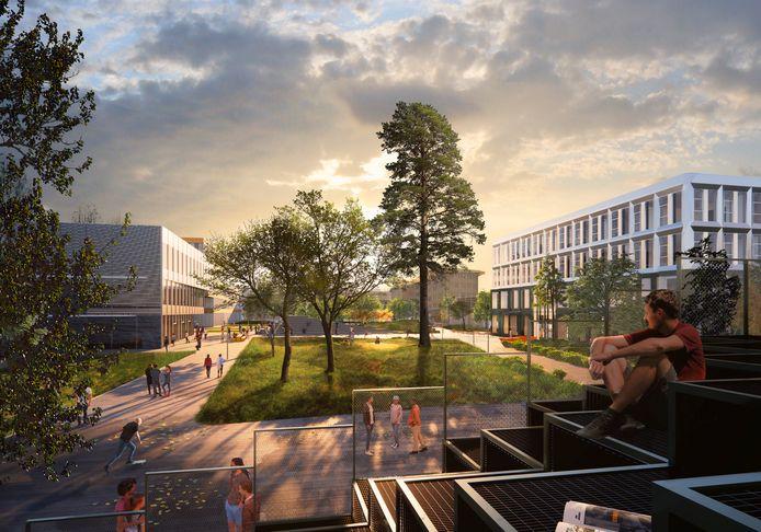 Impressie van het centrale plein bij de nieuwbouw die op de Fontys-campus Rachelsmolen in Eindhoven moet verrijzen.