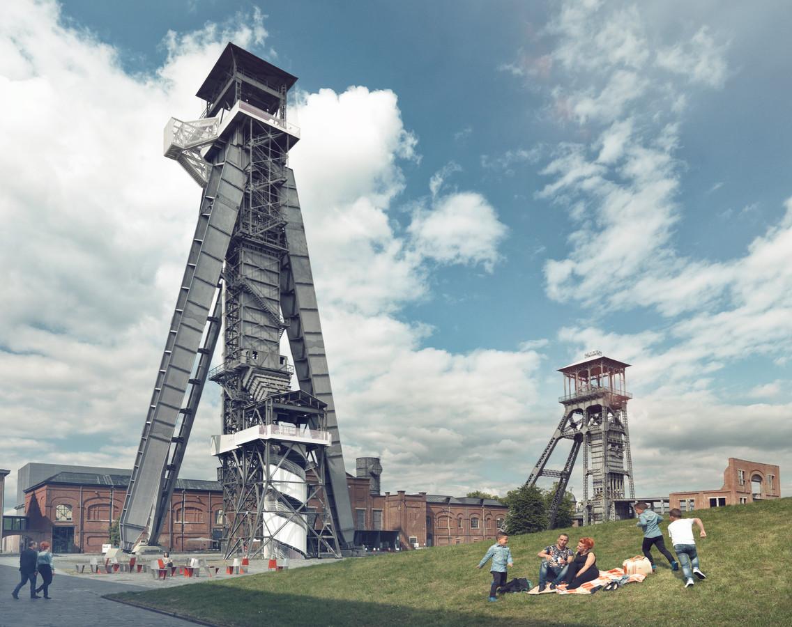 """Mijn lift van Winterslag. De modernste mijnlift die Cools gebouwd heeft, staat er nog steeds. """"Ze is in een paar dagen tijd gebouwd, want de mijnen mochten niet lang stilliggen."""""""