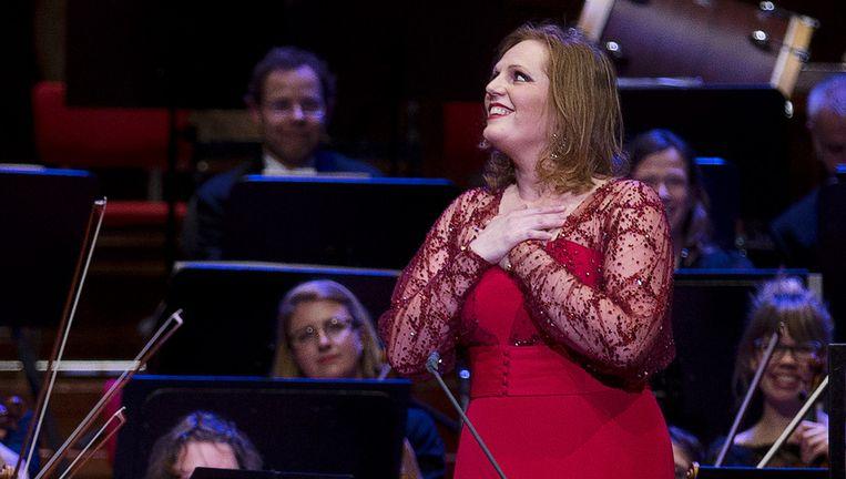 Eva-Maria Westbroek na het openingsconcert van het jubileumjaar van het Concertgebouw in 2013. Beeld anp