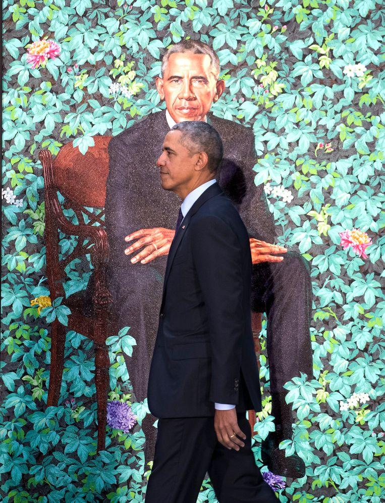 Obama voor zijn staatsieportret (Kehinde Wiley,2018) Beeld EPA/SHAWN THEW