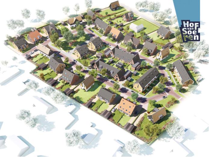 Een luchtillustratie van het toekomstige Hof van Soeren.