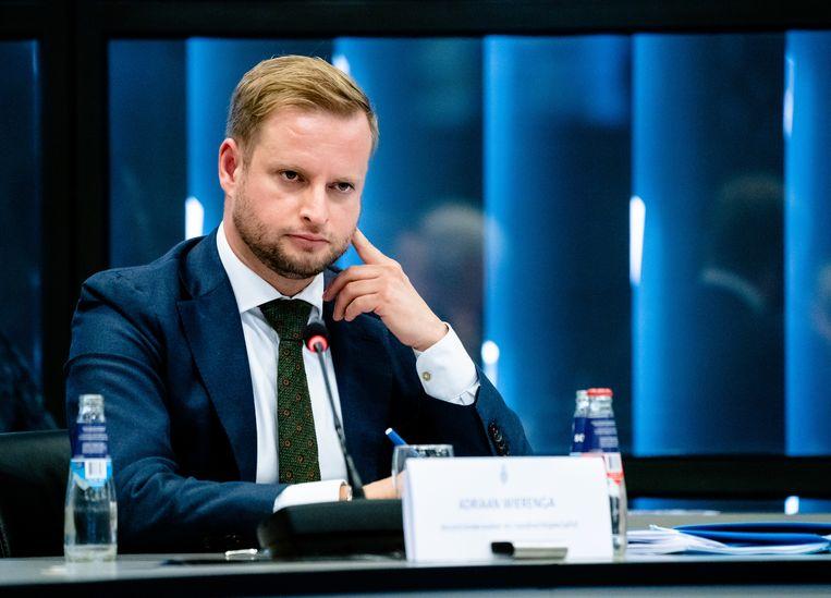 Adriaan Wierenga, noodrechtspecialist bij de Rijksuniversiteit Groningen, bij een hoorzitting in de Tweede Kamer. Beeld Hollandse Hoogte /  ANP