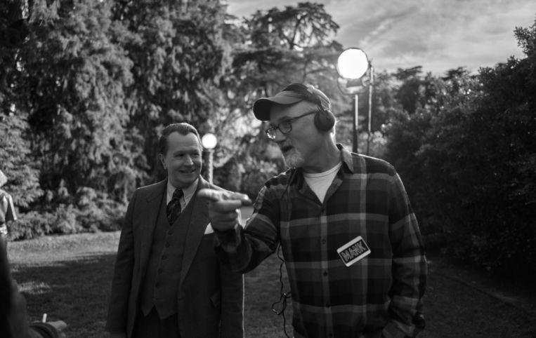 Acteur Gary Oldman (links) met regisseur David Fincher. Beeld AP