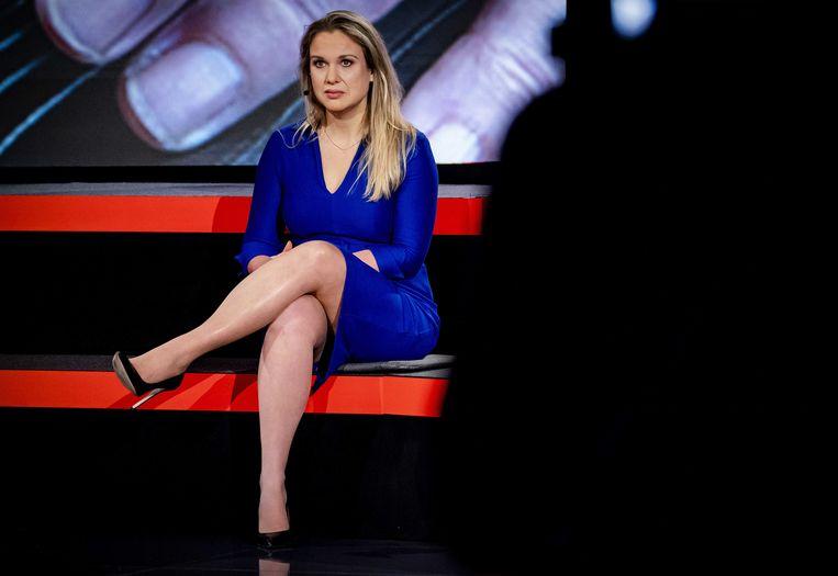 Femke Merel van Kooten-Arissen (Splinter) tijdens een verkiezingsdebat. Haar partij weigerde een gift, maar meldde die wel aan. Beeld ANP
