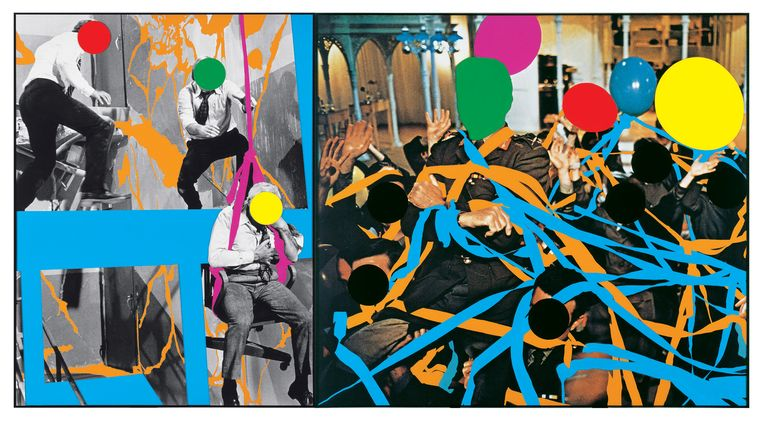 John Baldessari, Fissures (Orange) and Ribbons (Orange, Blue): With Multiple Figures (Red, Green, Yellow), Plus Single Figure (Yellow) in Harness (Violet) and Balloons (Violet, Red, Yellow, Grey) (2004) Beeld