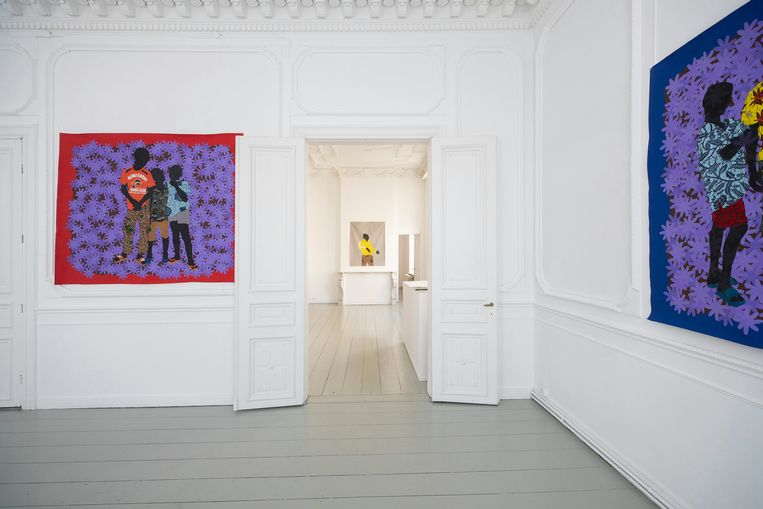 Enkele werken van Raphael Adjetey Adjei Mayne in Antwerpen. Beeld David Samyn