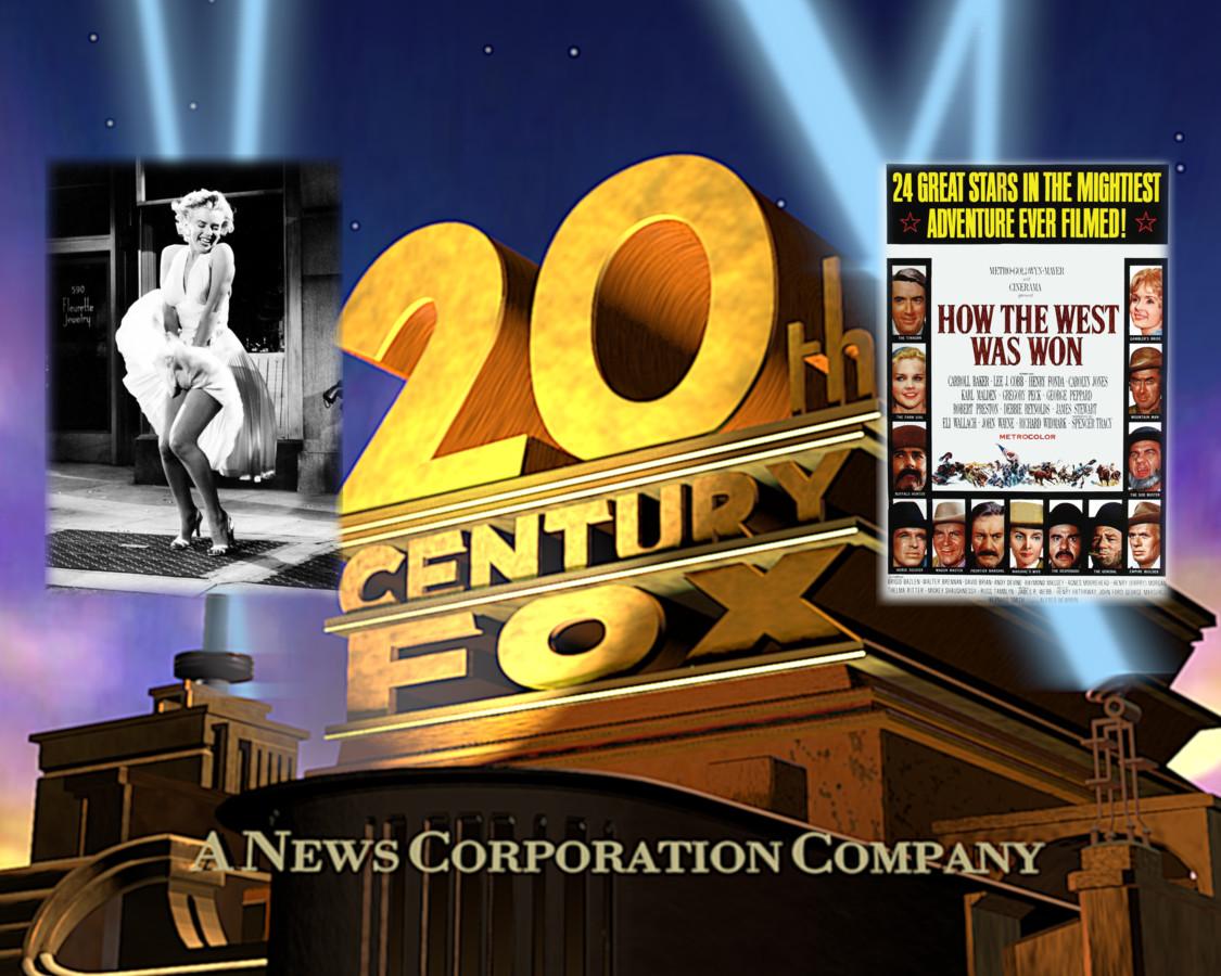 The Seven Year Itch met Marilyn Monroe, een poster van de klassieker How the West Was Won en het beroemde 20th Century FOX-filmlogo.