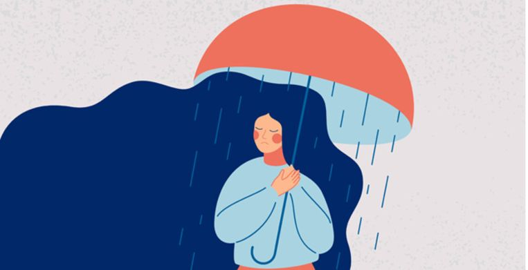 Depressed woman holds an open umbrella, which does not save her from the rain. Sad girl is in a stressful state. Colorful vector illustration in flat cartoon style Beeld Getty Images/iStockphoto