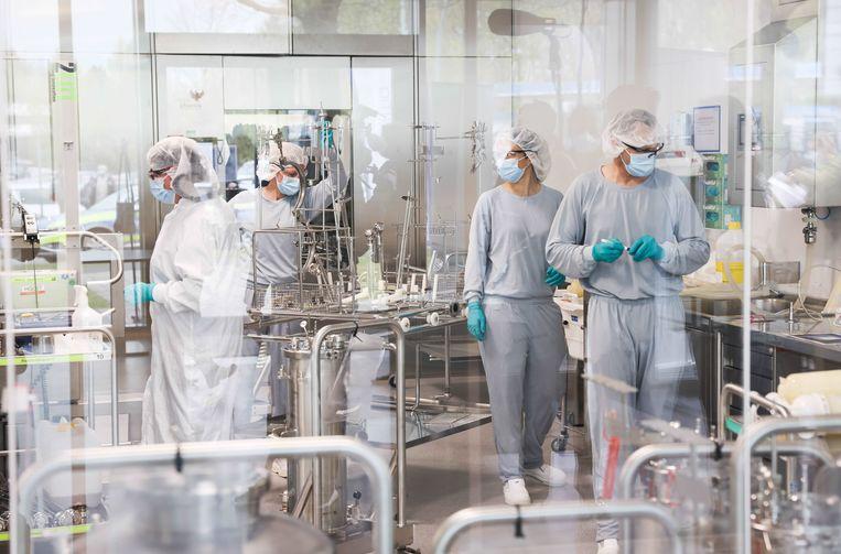 In de fabriek van Reinbek, Schleswig-Holstein, wordt gewerkt aan een vaccin tegen Covid.  Beeld Christian Charisius, DPA