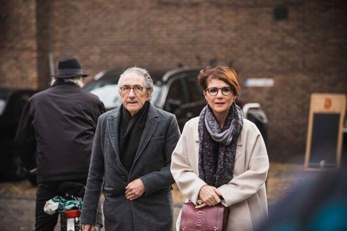 Begrafenis Roland Demal.  Willy en dochter Hilde Claes.