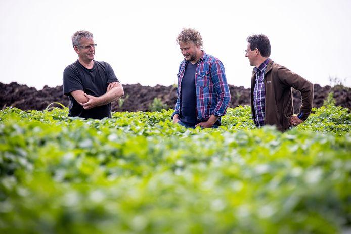 """Akkerbouwer Pieter Evenhuis, LTO-bestuurder Sander Pereboom en gebiedsmanager Chris Braat van Natuurmonumenten in gesprek over de toekomst van de boeren in De Wieden: ,,Dit moet blijven."""""""