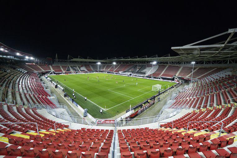 AZ en FC Twente spelen een eredivisiewedstrijd in een leeg Afas stadion in Alkmaar, op 13 maart 2021. Beeld Ed van de Pol / ANP