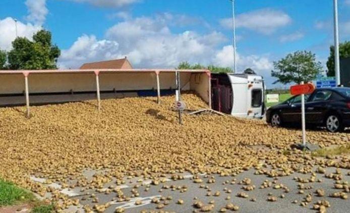 Een deel van de lading aardappelen werd uit de aanhangwagen gekatapulteerd, na het ongeval op de rotonde van de Ringlaan met de Bruggestraat in Ingelmunster.