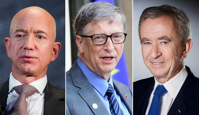 De nieuwe top-3 van rijkste mensen ter wereld: Jeff Bezos, Bill Gates en Bernard Arnault.