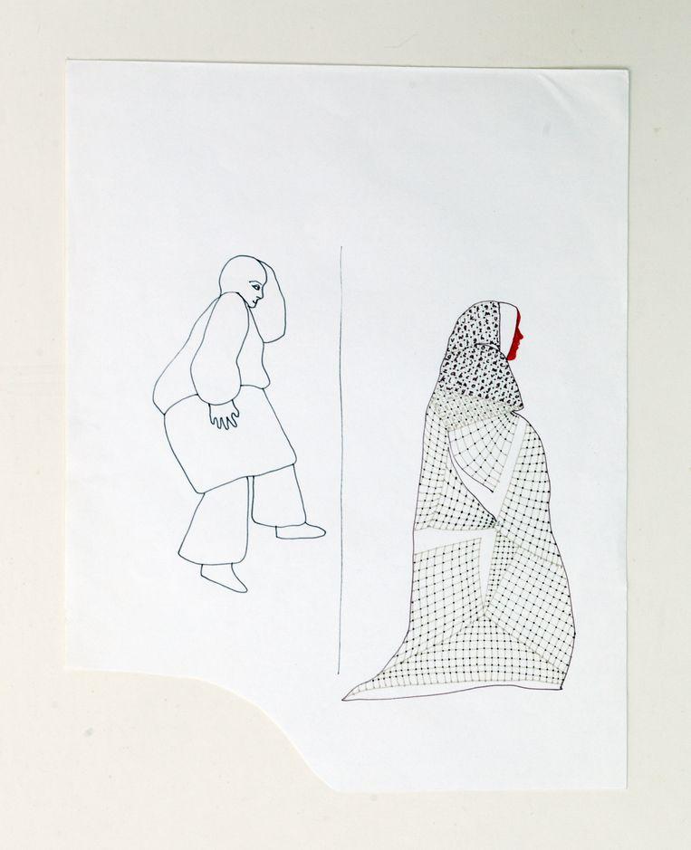 Tekening van Neeltje Maria Min. Beeld Daniel Cohen