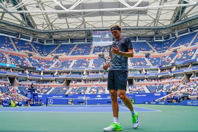 Zverev lors de sa victoire contre Sam Querrey au premier tour de l'US Open.