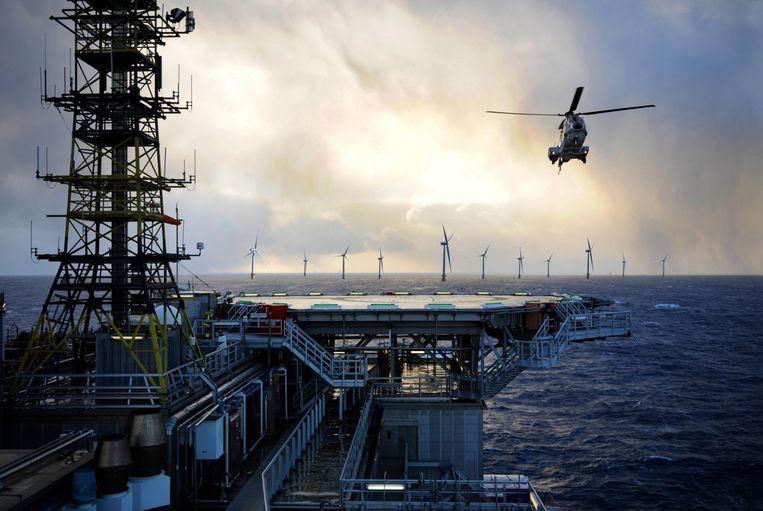 Het Noorse energiebedrijf Equinor wil windenergie gebruiken voor zijn boorplatforms. Beeld Equinor