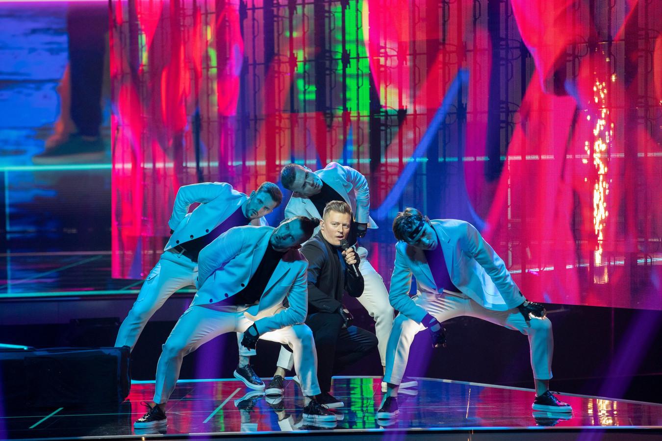 De Poolse zanger Rafal tijdens zijn eerste repetitie voor het Eurovisie Songfestival in Ahoy