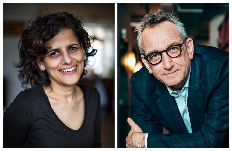 Twee Nederland-watchers, Belgo-Nederlander Peter Vandermeersch en columniste Sheila Sitalsing, blikken vooruit. Beeld DM