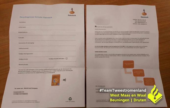 In de brief die in Druten werd bezorgd, werd gevraagd bankpas en pincode op te sturen.
