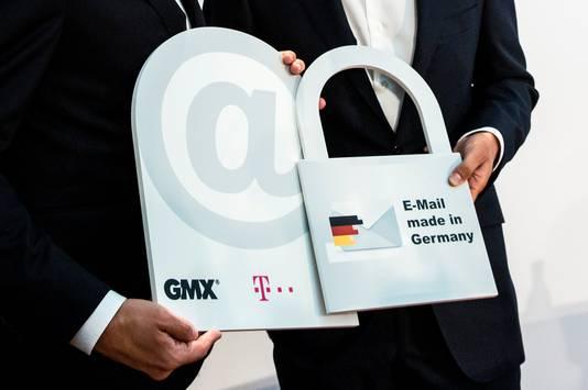De lancering van 'E-Mail made in Germany' van Deutsche Telekom.