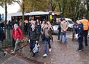 Politie en actievoerders deze morgen aan 't Saam Cardijn
