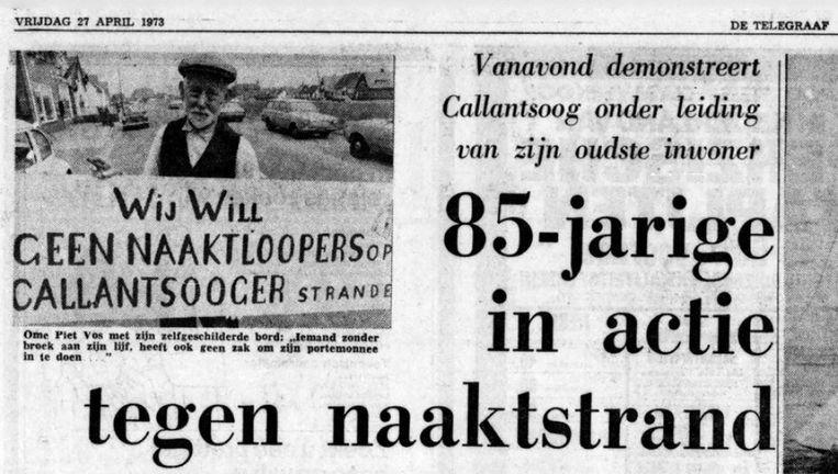De Telegraaf van 27 april 1973, over een demonstratie tegen het naaktstrand in Callantsoog. Beeld Telegraaf