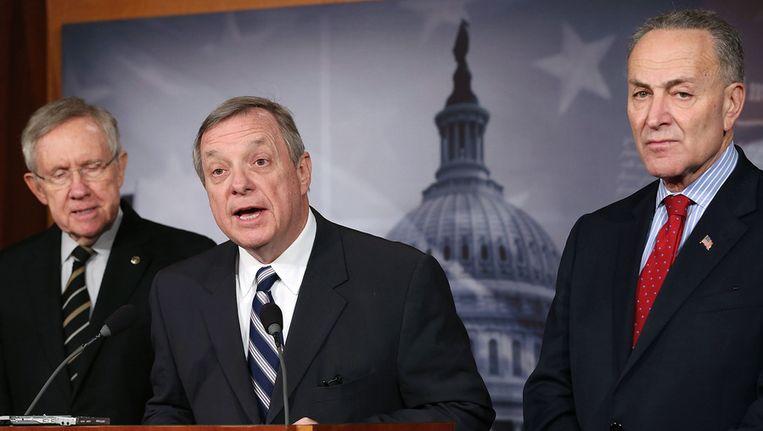 Senatoren Reid, Durbin en Schumer geven een persconferentie over het schuldenplafon Beeld ANP