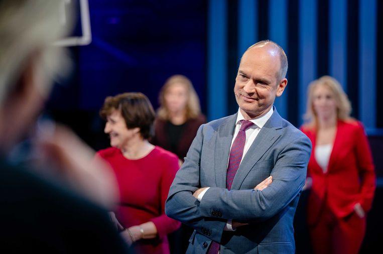 Vlnr: Lilianne Ploumen (Pvda), Gert-Jan Segers (ChristenUnie), en Lilian Marijnissen (SP) tijdens het eerste lijsttrekkersdebat voor de Tweede Kamerverkiezingen. Beeld ANP