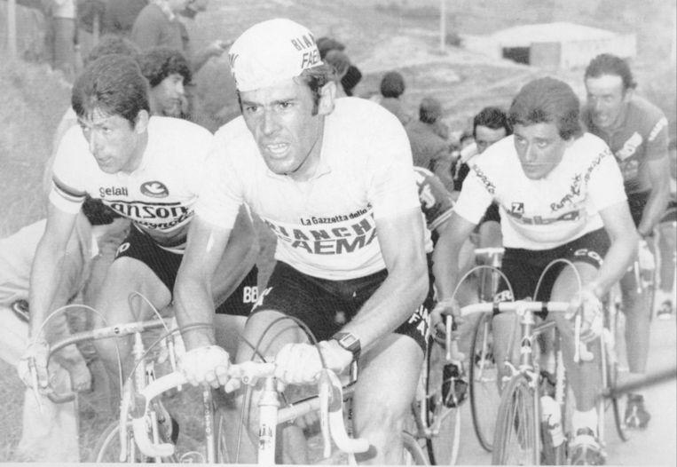 Vlnr:  Francesco Moser, Johan De Muynck en Roberto Visentini tijdens de Giro van 1978. De Muynck zou dat jaar aan het langste eind trekken. Beeld BELGA