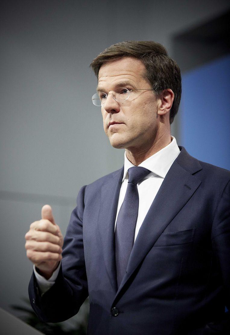Premier Mark Rutte tijdens een persconferentie in Nieuwspoort na de wekelijkse ministerraad. Beeld anp