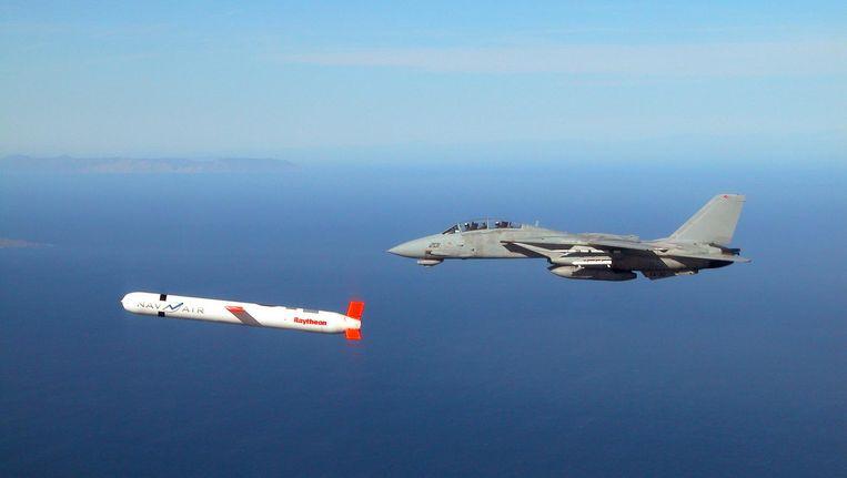 Een Tomahawk tijdens een test. De VS schoten 59 kruisraketten af op Al-Sharjah. Beeld AFP