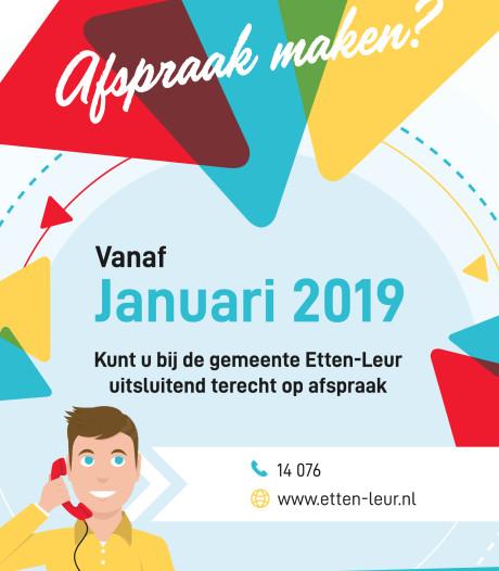 Publiekszaken Etten-Leur: alleen op afspraak