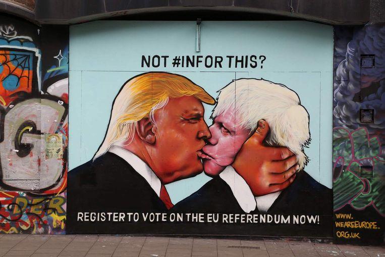 Een muurschildering in Bristol, gemaakt door leden van de groep We Are Europe Beeld afp