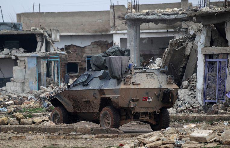 Een Turks legervoertuig in al-Rai in Syrië. Archieffoto.