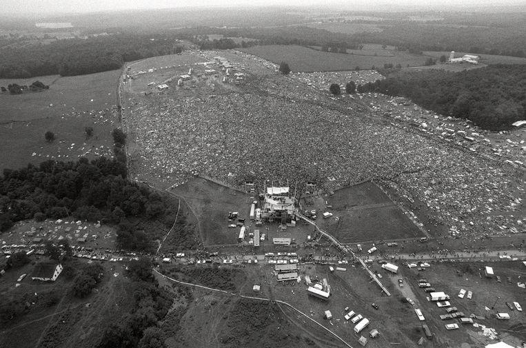 Drukte op de eerste Woodstock. Beeld AP