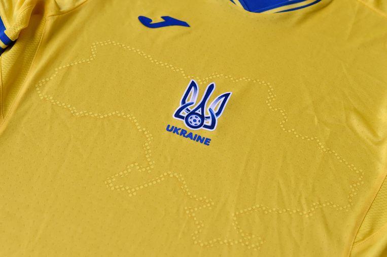 EK-shirt met het silhouet van Oekraïne - inclusief de door Rusland geannexeerde Krim. Beeld AFP